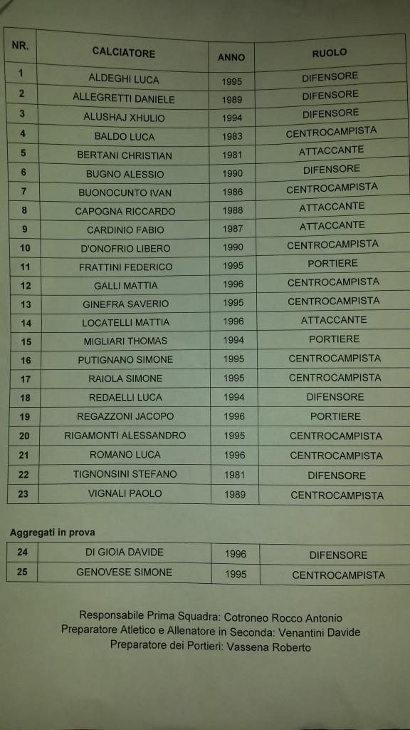 Calcio Lecco Rosa 2014-2015
