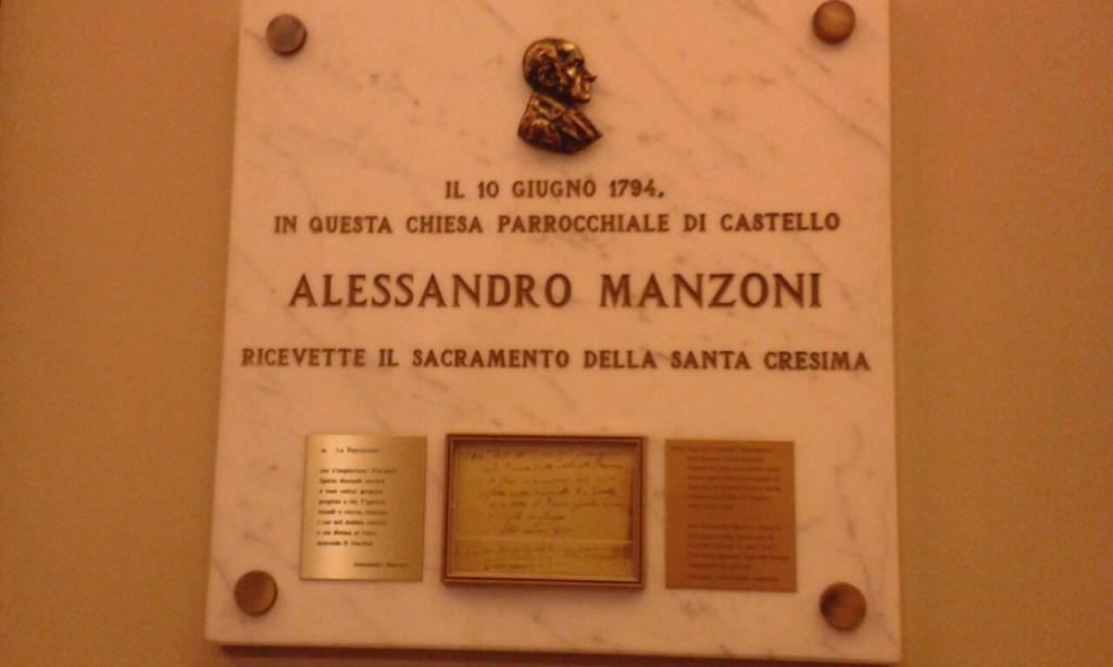 Targa commemorativa ad Alessandro Manzoni