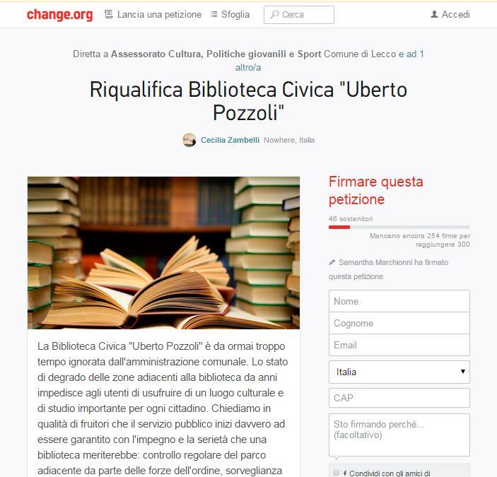 biblioteca petizione change.org