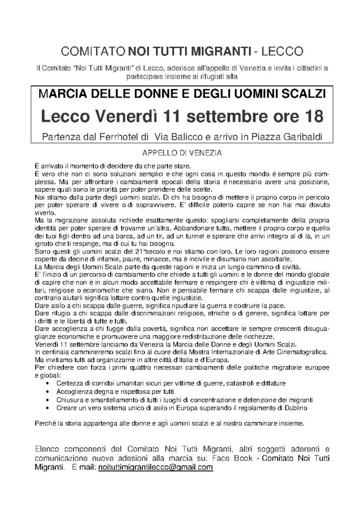 Volantino marcia donne e uomini scalzi a Lecco-01