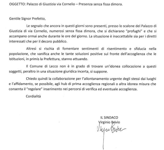 lettera sindaco-prefetto profughi
