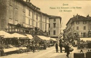 Mercato in piazza XX Settembre, Lecco, Inizio Novecento