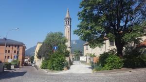 Il Campanile di San Nicolò visto dall'ex Damiano Chiesa, Lecco, 2016
