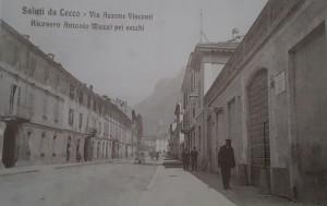 Via Azzone Visconti e ricovero per anziani Muzzi, Lecco, 1907