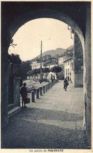 Lungolago di Malgrate visto dal portico della filanda Stabilini, Inizio Novecento