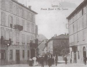 Via Cavour vista da Piazza Armando Diaz, Lecco, 1901
