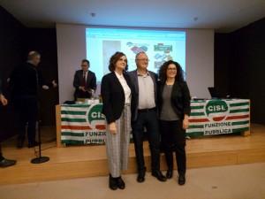 CISL da sinistra Franca Bodega, il segretario generale Nicola Turdo, Lucia Pezzuto