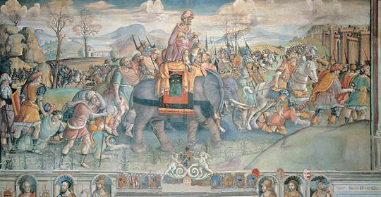 Jacopo Ripanda, Annibale varca le Alpi, 1508-1509, Roma, Palazzo dei Conservatori.