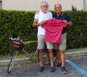 ciclisti fila indiana - maglia rosa, Adriano Aldeghi - Angelo Fontana
