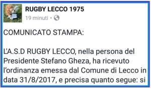 RUGBY LECCO COMUNICATO