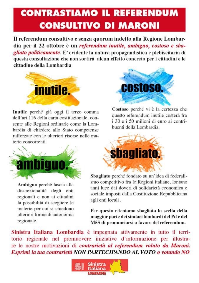 Volantino Sinistra Italiana Regionale sul referendum
