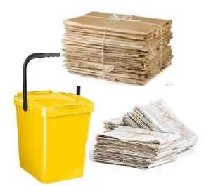 bidone giallo carta cartone